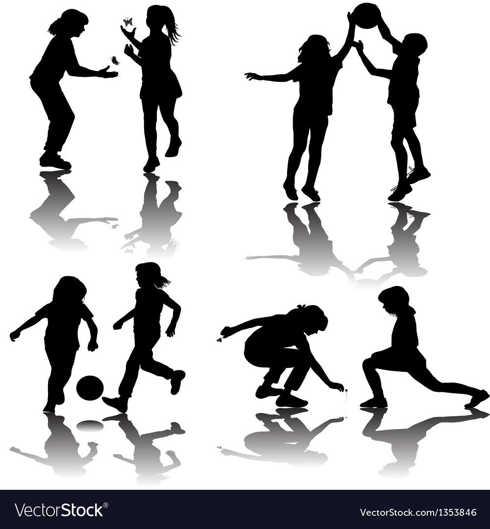 Group of playing children silhouettes vector