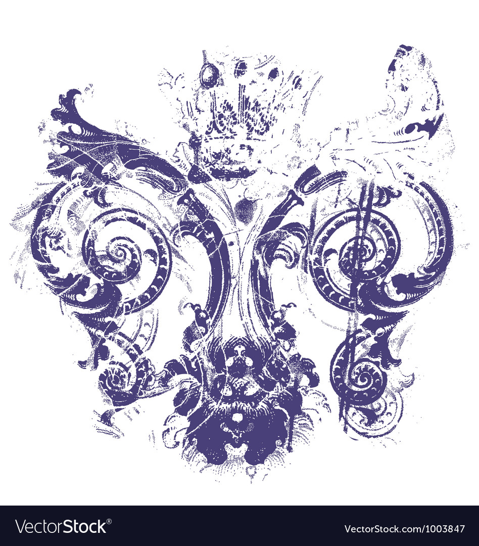 Distressed royal fleur de lys vector