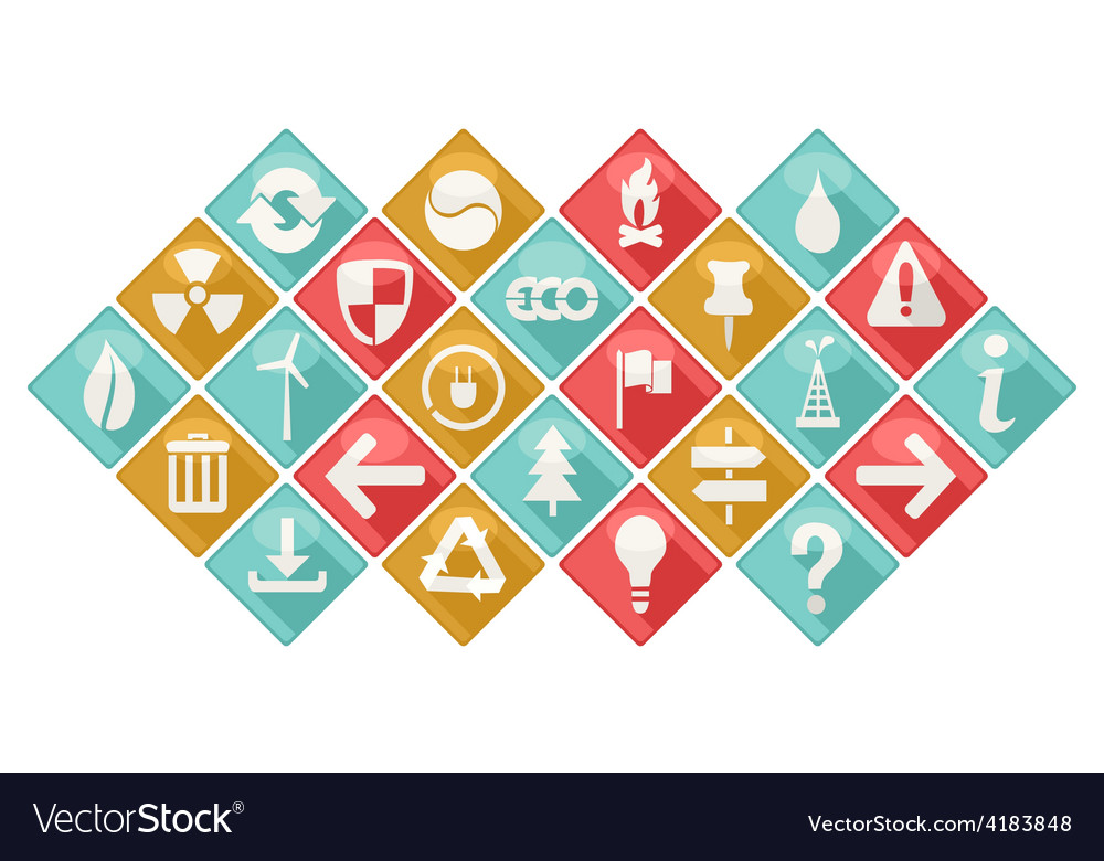 Ecological theme icons set vector