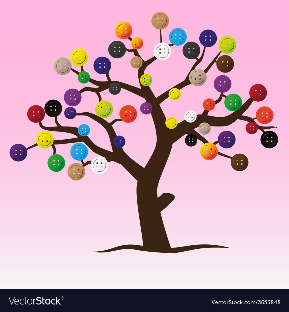 Mystic button tree with color buttons for clothing vector