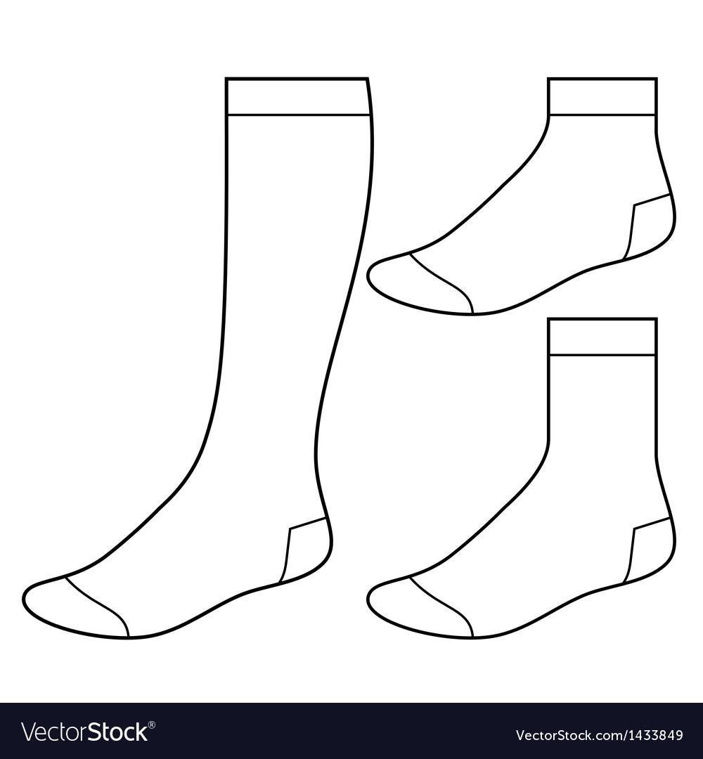 Set of blank socks vector
