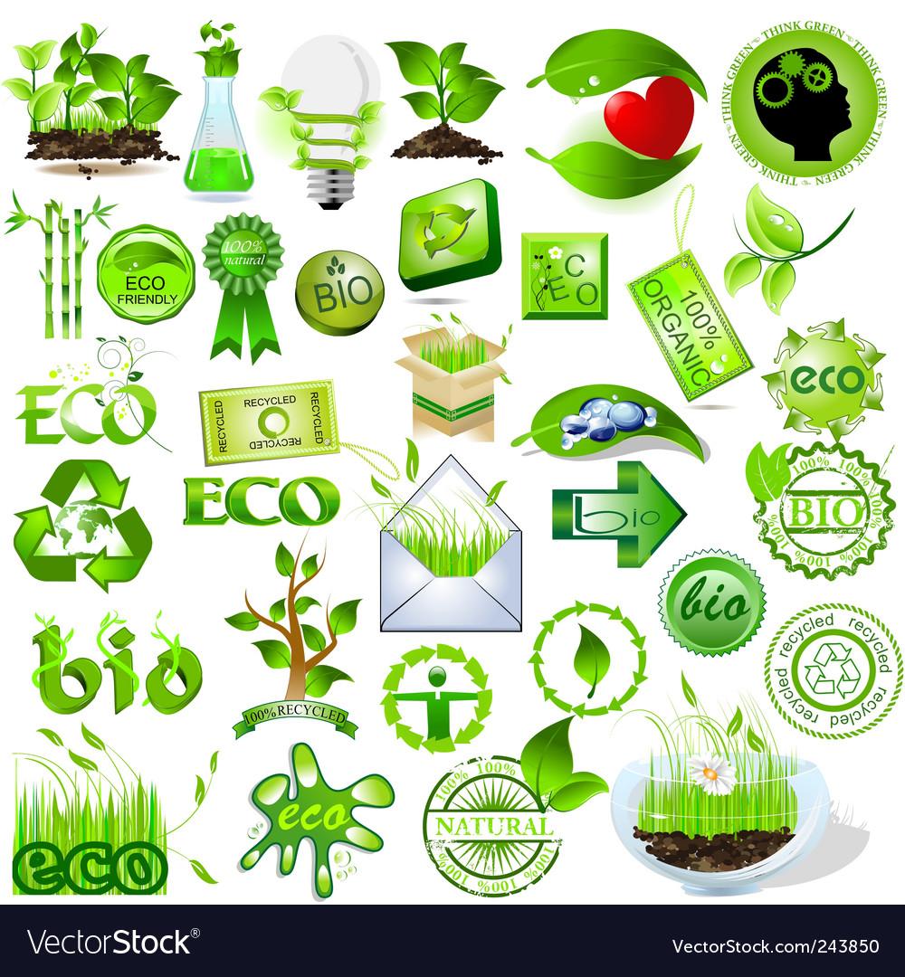 Eco and bio icons vector