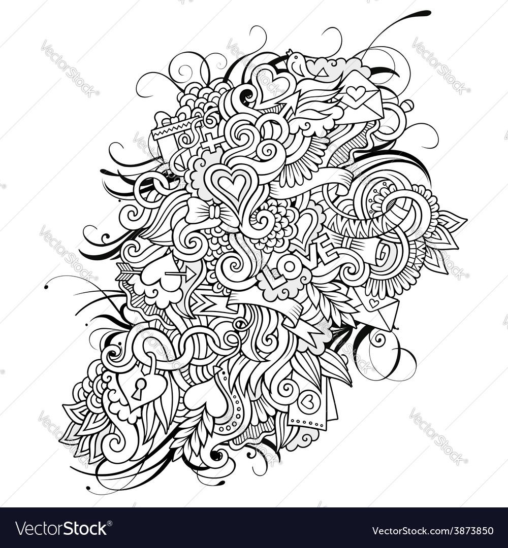 Love sketch background vector