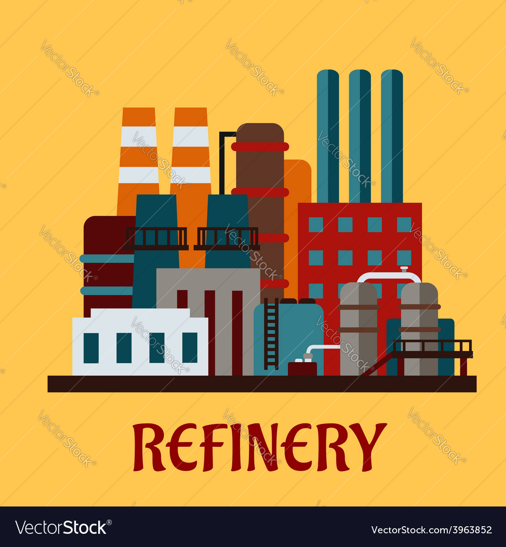 Flat industrial refinery vector