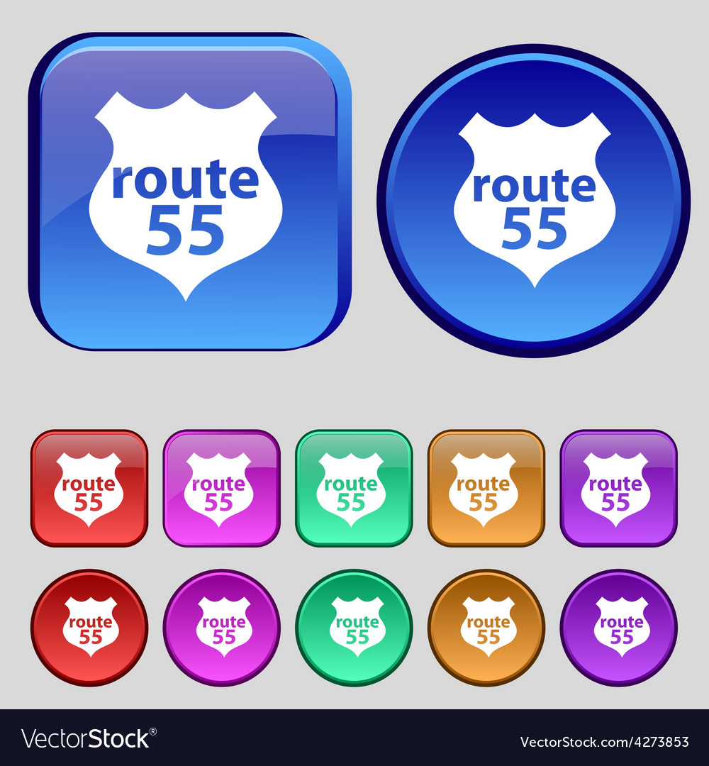 Route 55 highway icon sign a set of twelve vintage vector