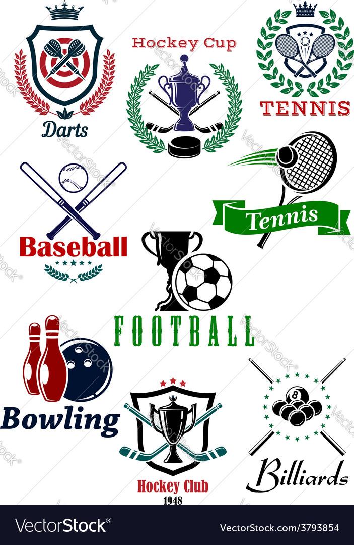 Heraldic sporting emblems or badges vector