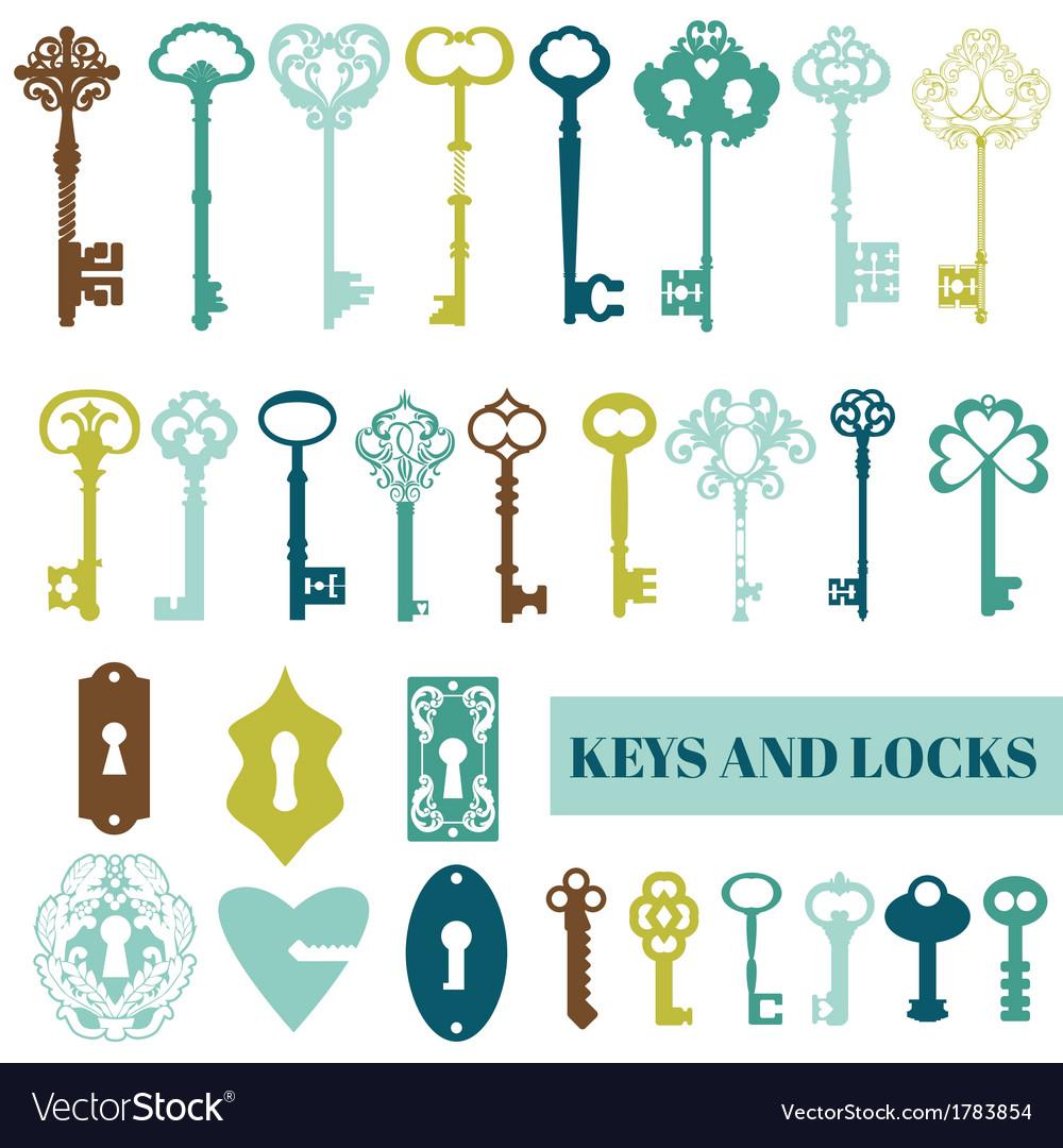 Set of antique keys and locks vector
