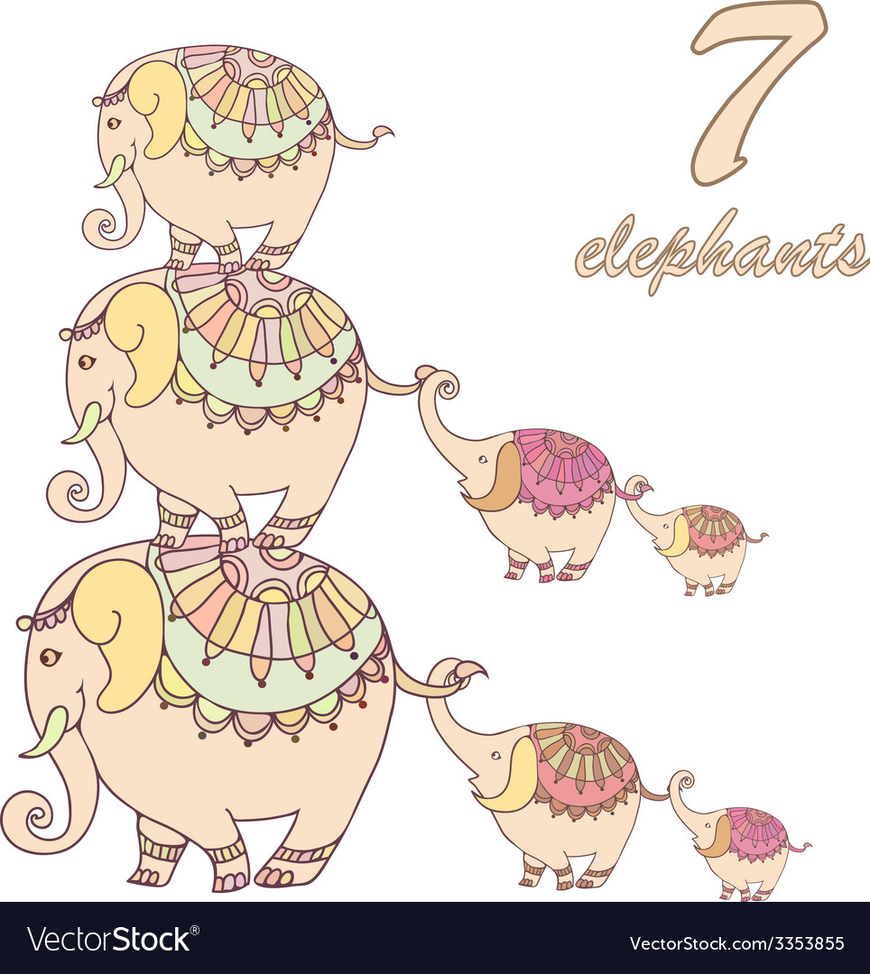 Collection of seven elephants lined vector