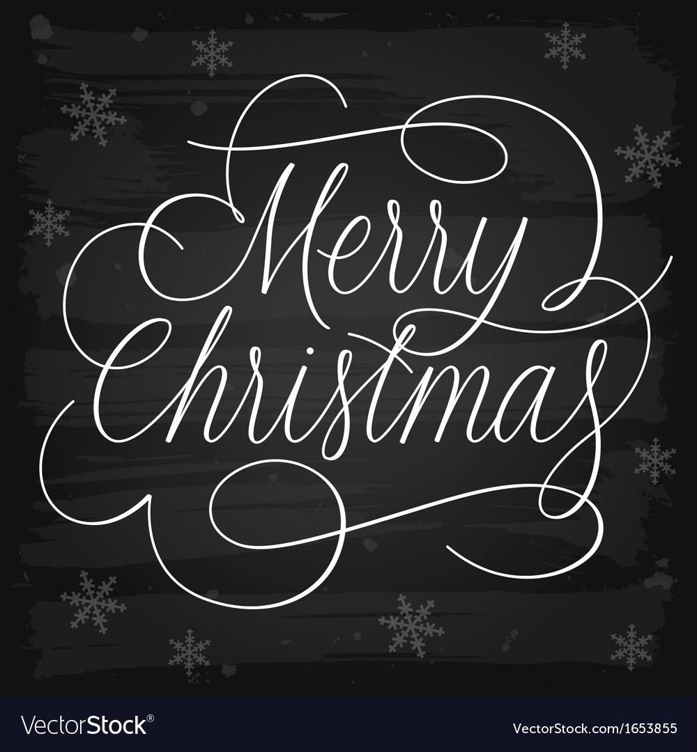 Merry christmas greetings slogan on chalkboard vector