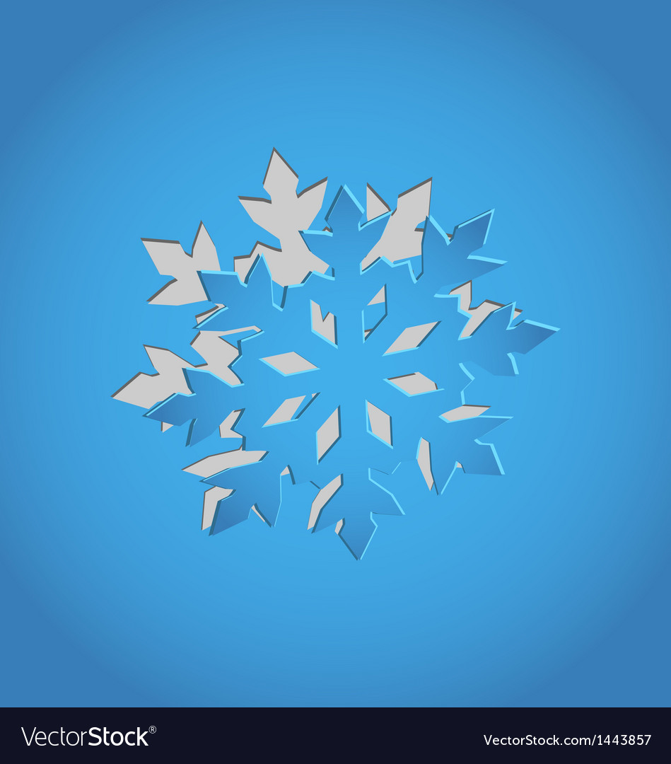 Cut out christmas snowflake blue paper vector