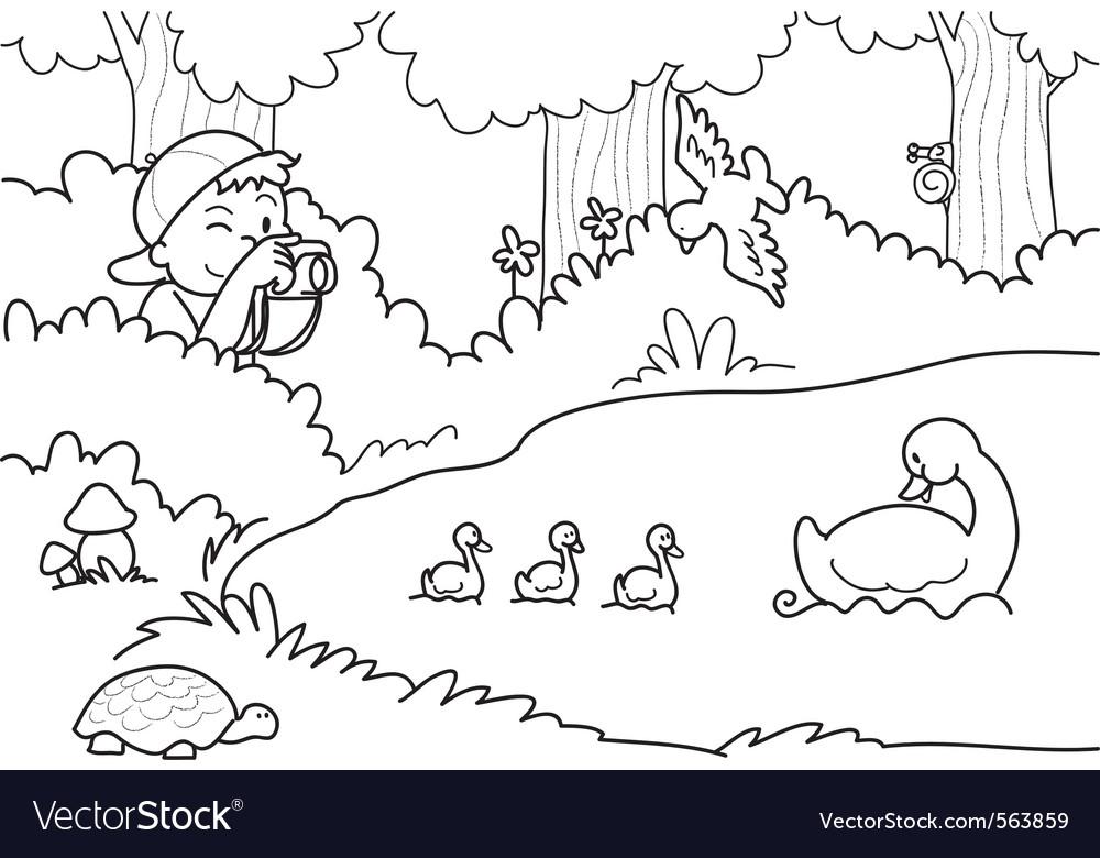 Boy shooting nature vector