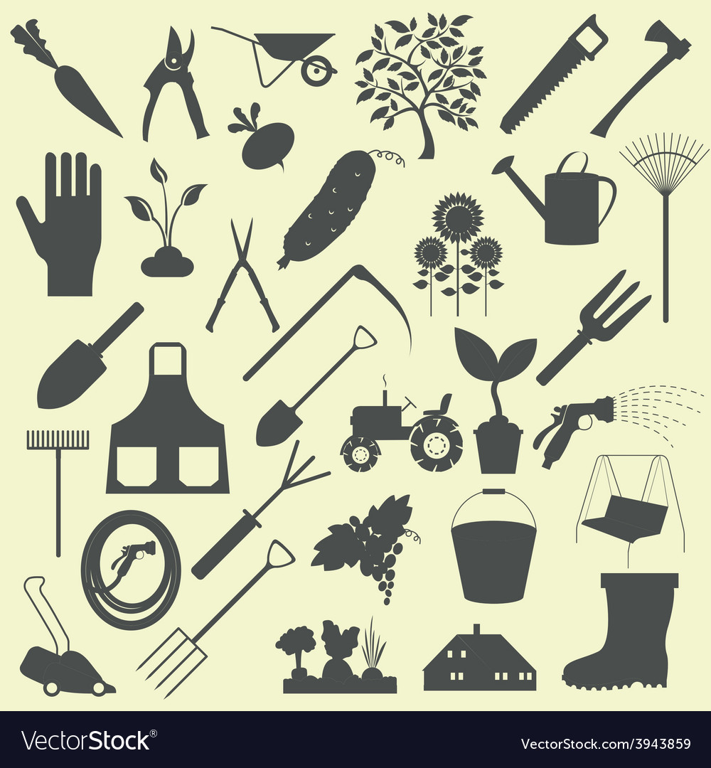 Garden work icon set working tools vector