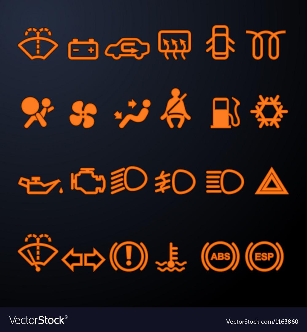 Illuminated car dashboard icons vector