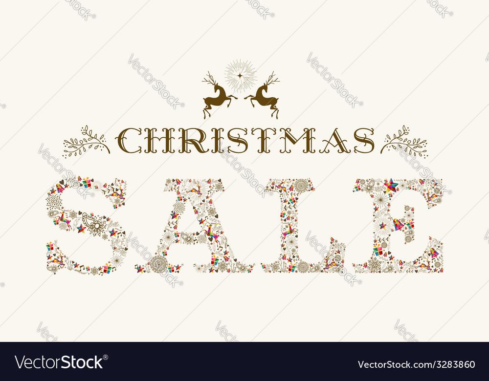 Vintage christmas sale season colorful reindeer vector