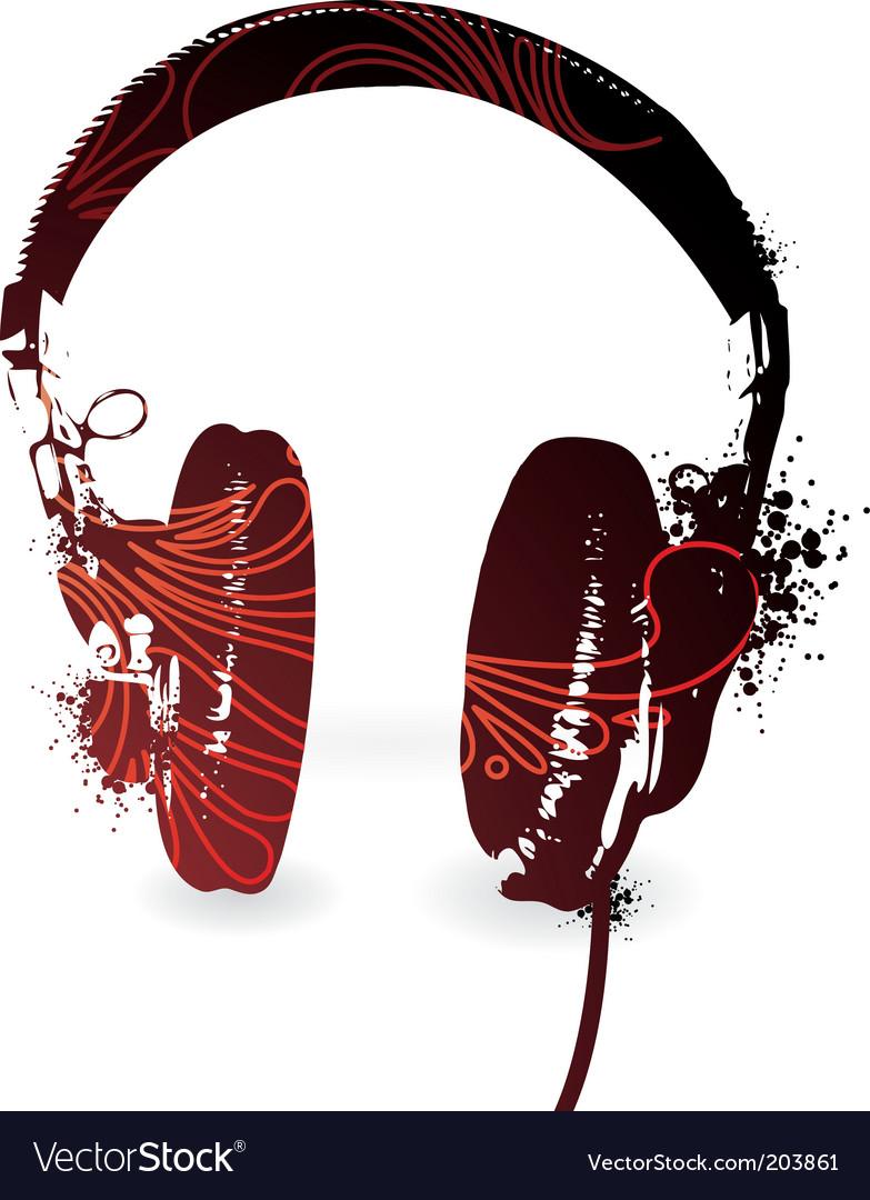 Floral headphones vector