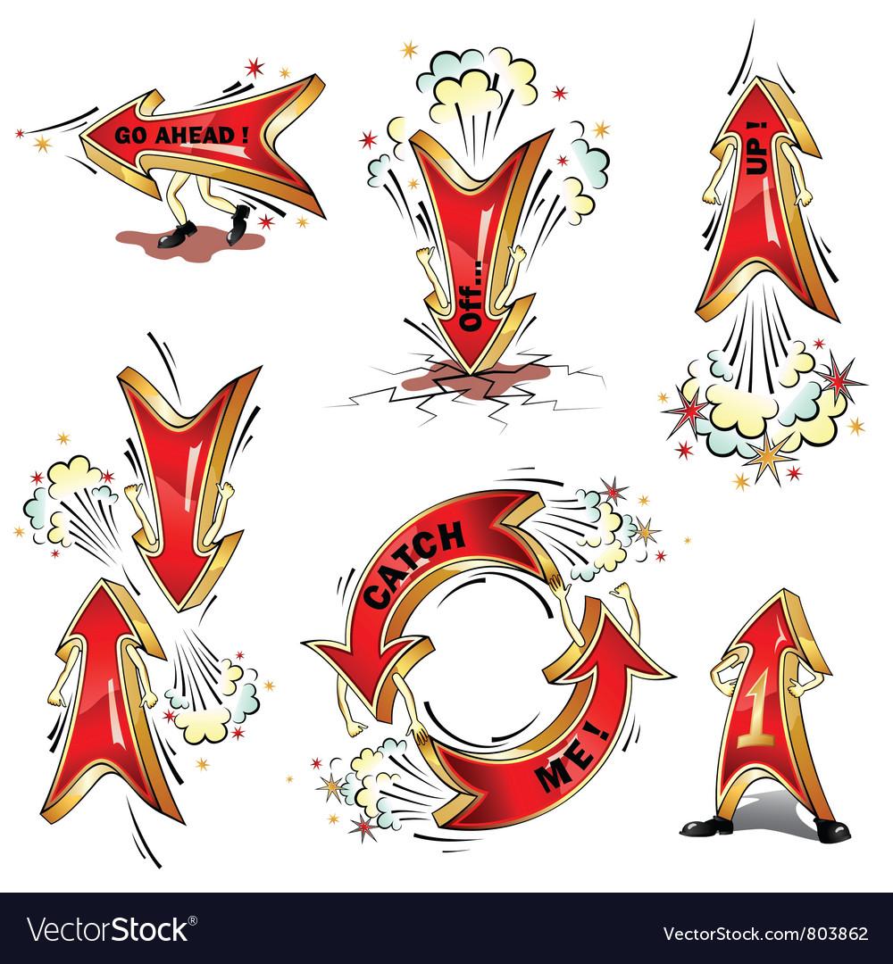 Cartoon moving arrows vector