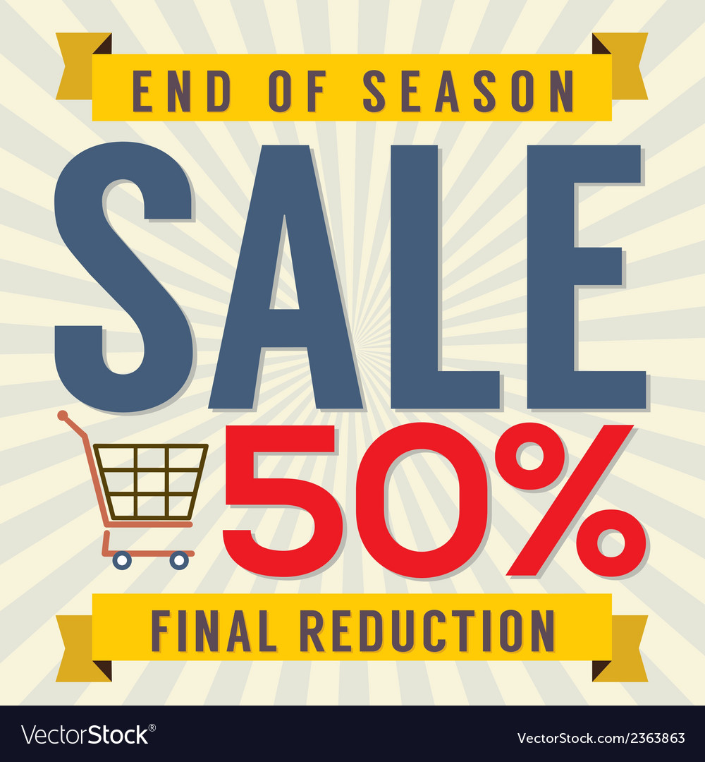 End of season sale vintage vector