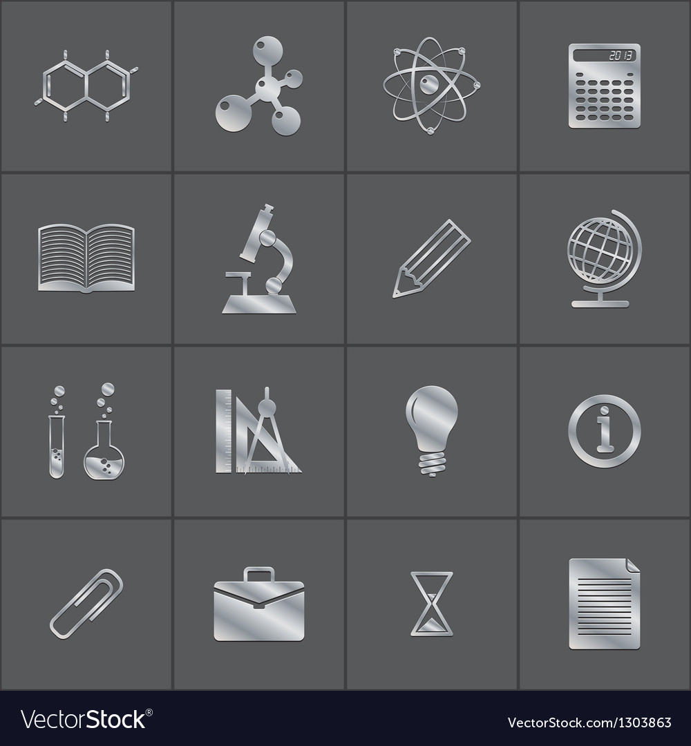 Metal icons of a science vector