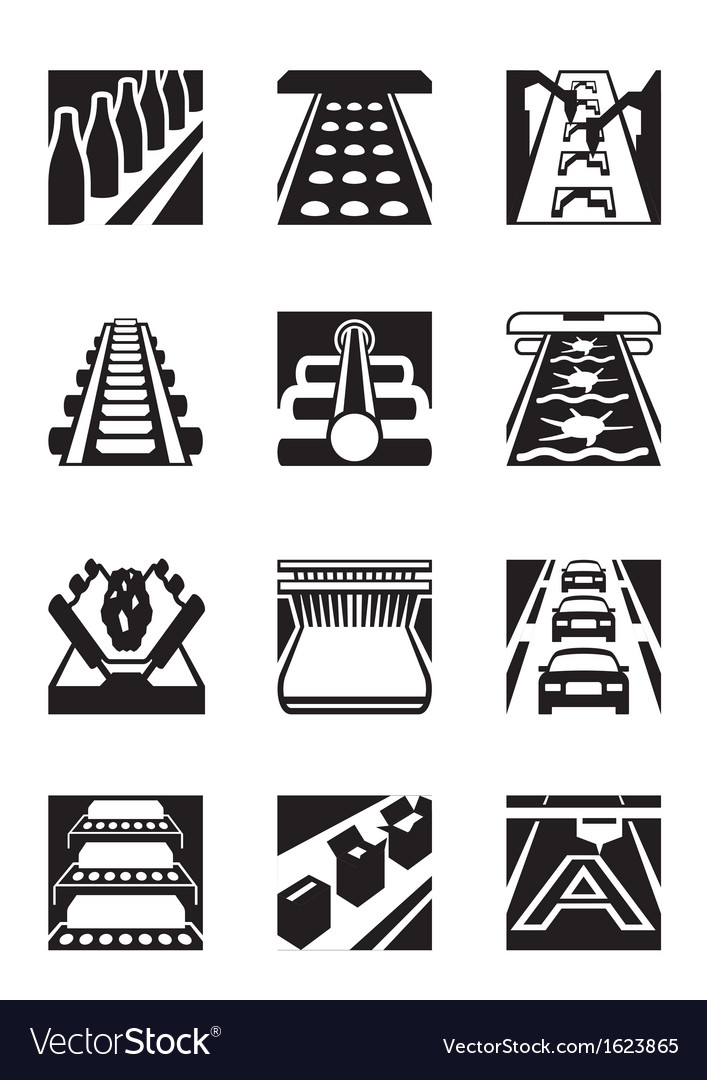 Industrial assembly lines vector
