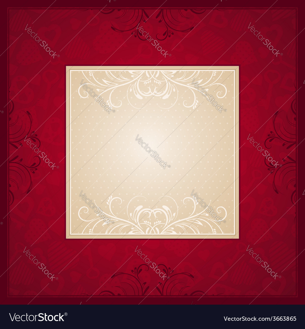 Valentine red background with heart vector