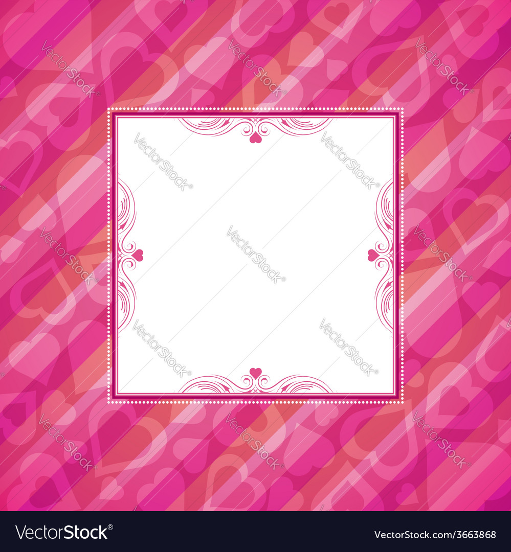 Pink valentine background with heart vector