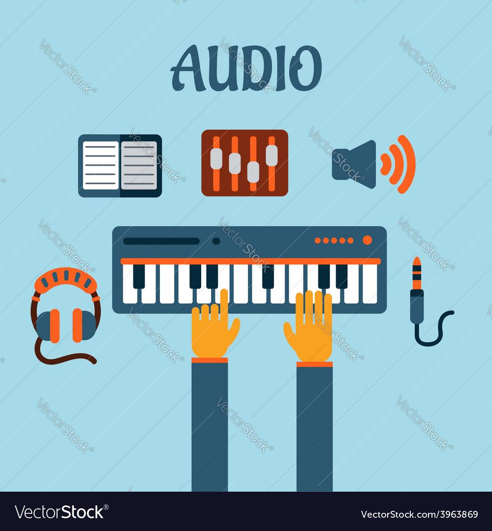 Sound recording flat concept vector