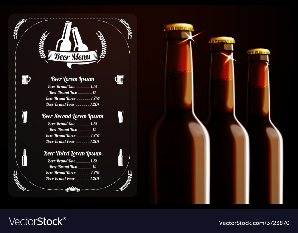 Menu template - beer and alcohol with place for vector