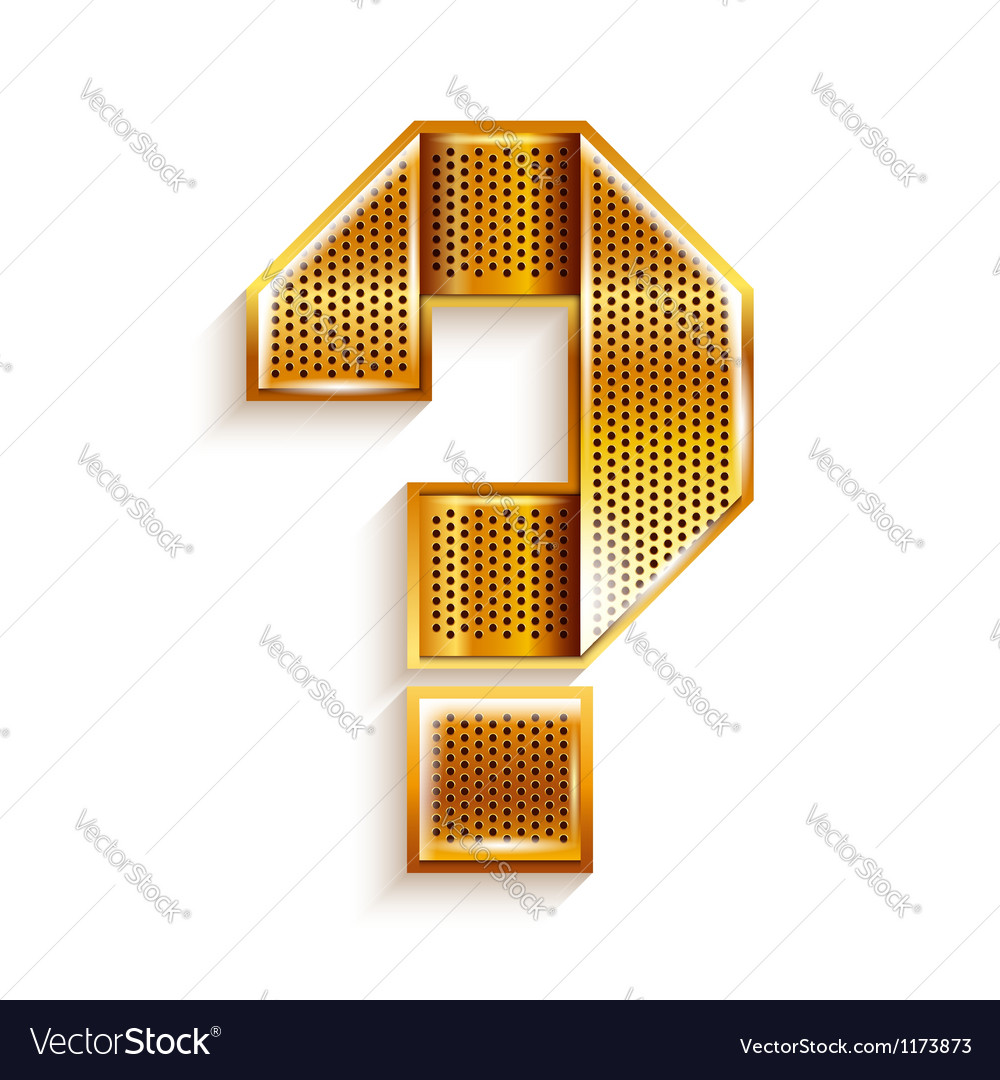 Letter metal gold ribbon question mark vector