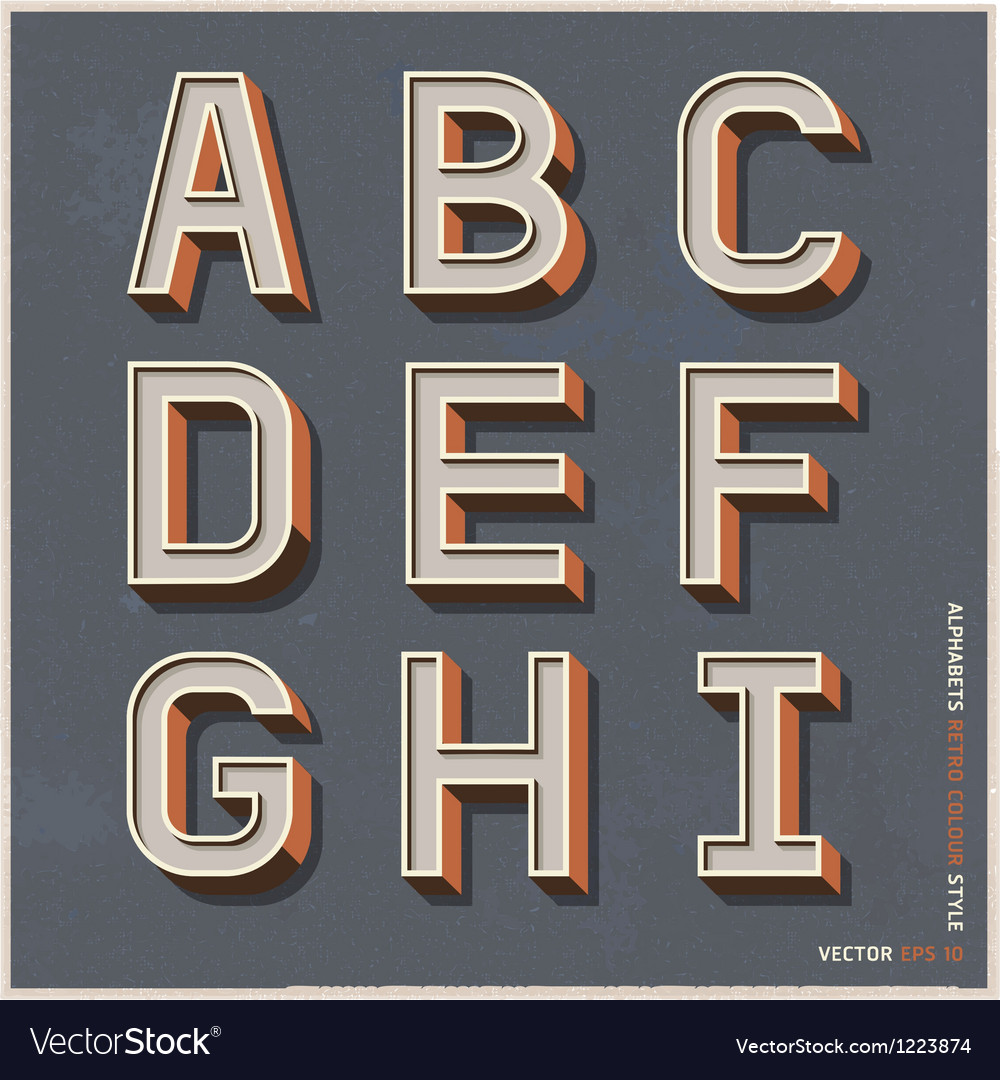 Alphabet retro color vector
