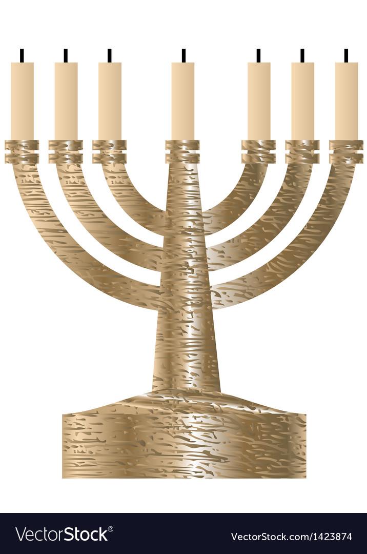 Menorah seven branched candlestick vector
