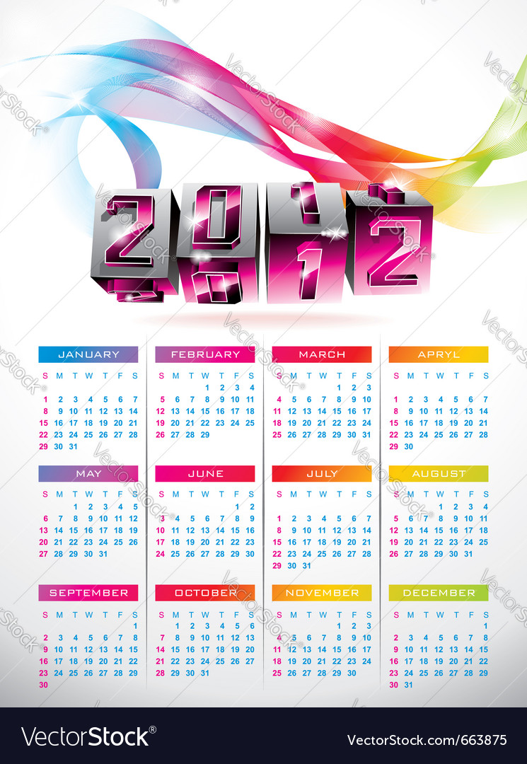 Calendar design 2012 with swirl cubes design vector