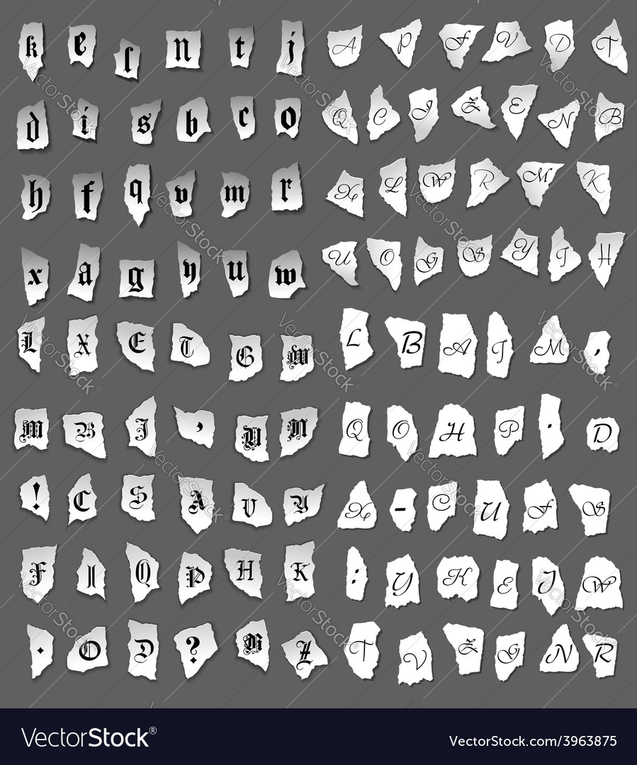 Vintage letters on turned paper vector