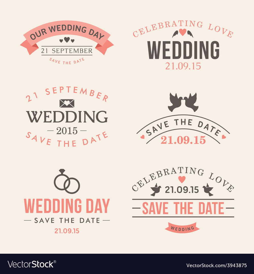 Wedding set of label badges stamp and design vector