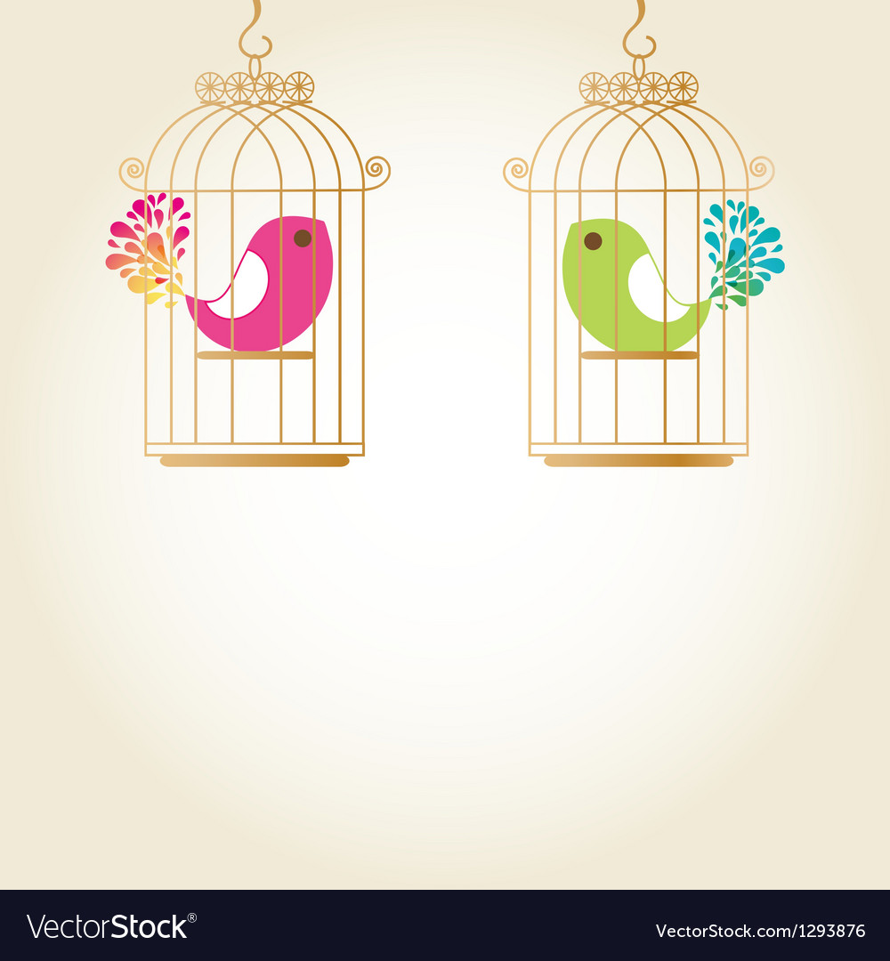 Cute love birds in birdcage vector