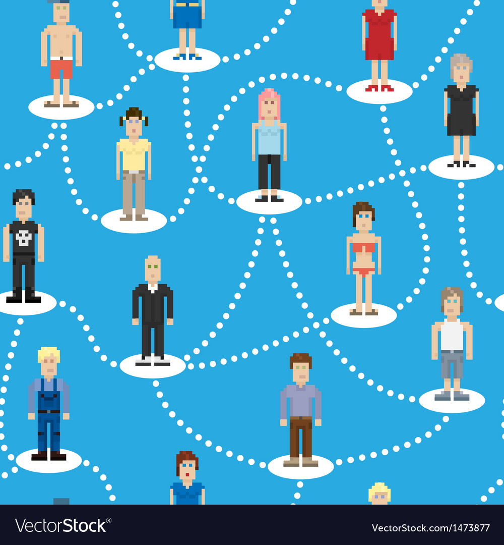 Pixel people social connection seamless pattern vector