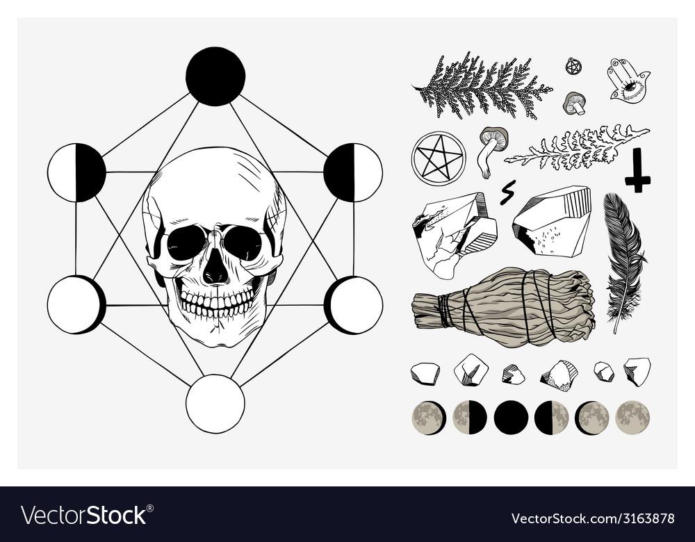 Set of ritual things black contour vector