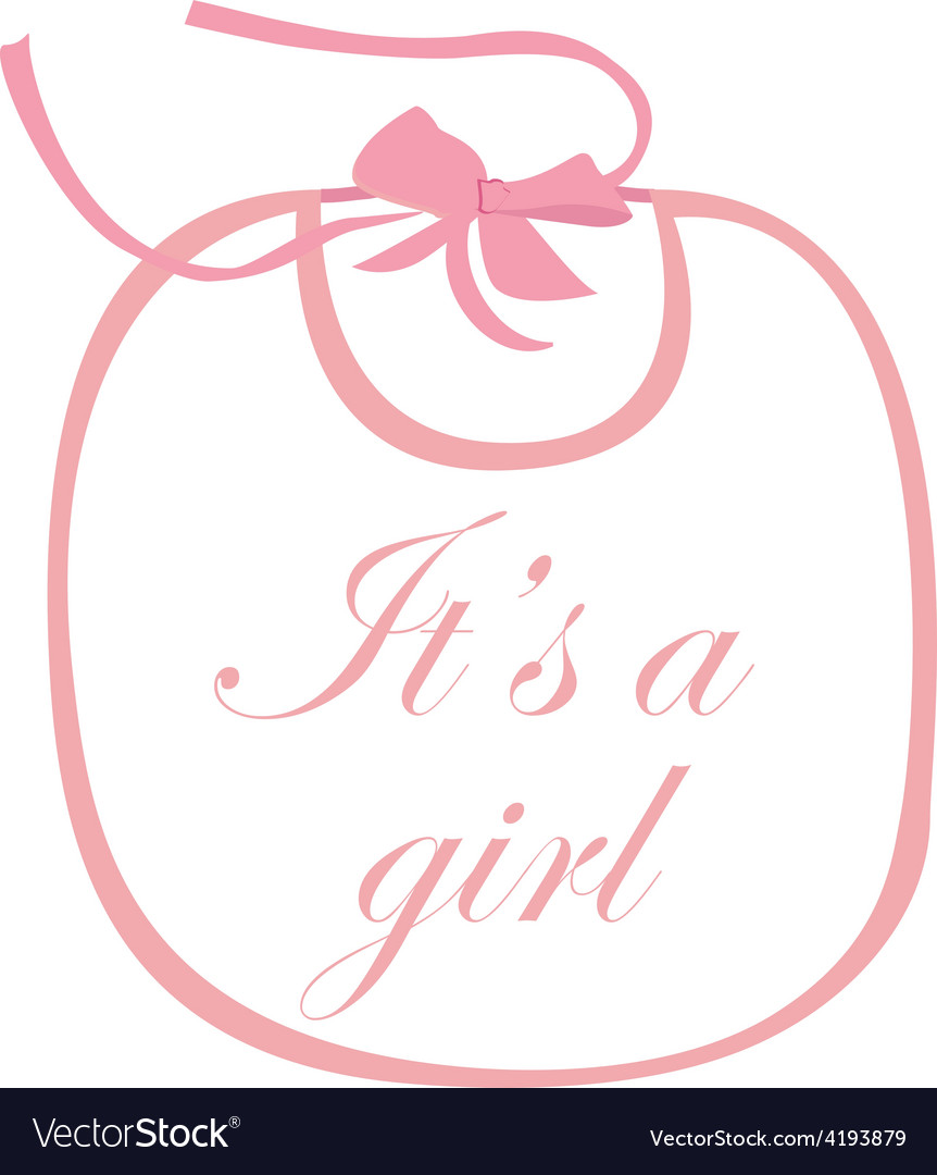 Pink baby bib with text vector
