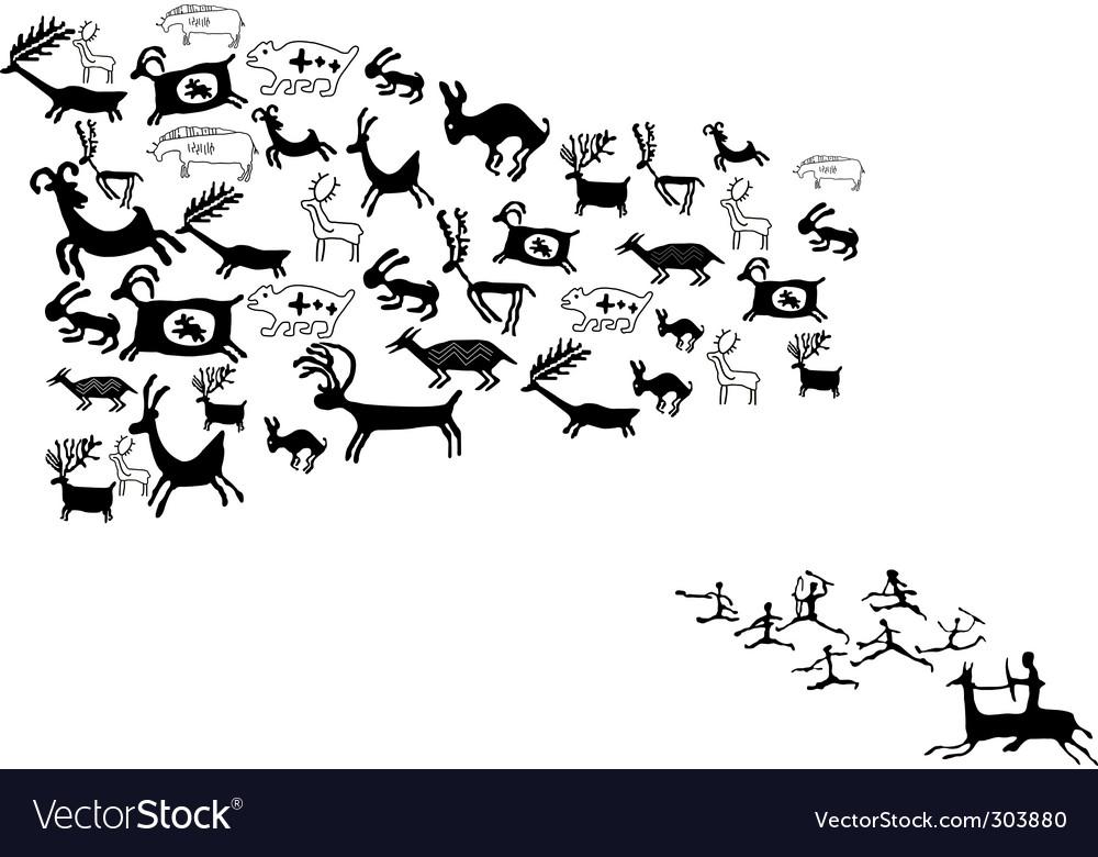 Ancient animal drawings vector
