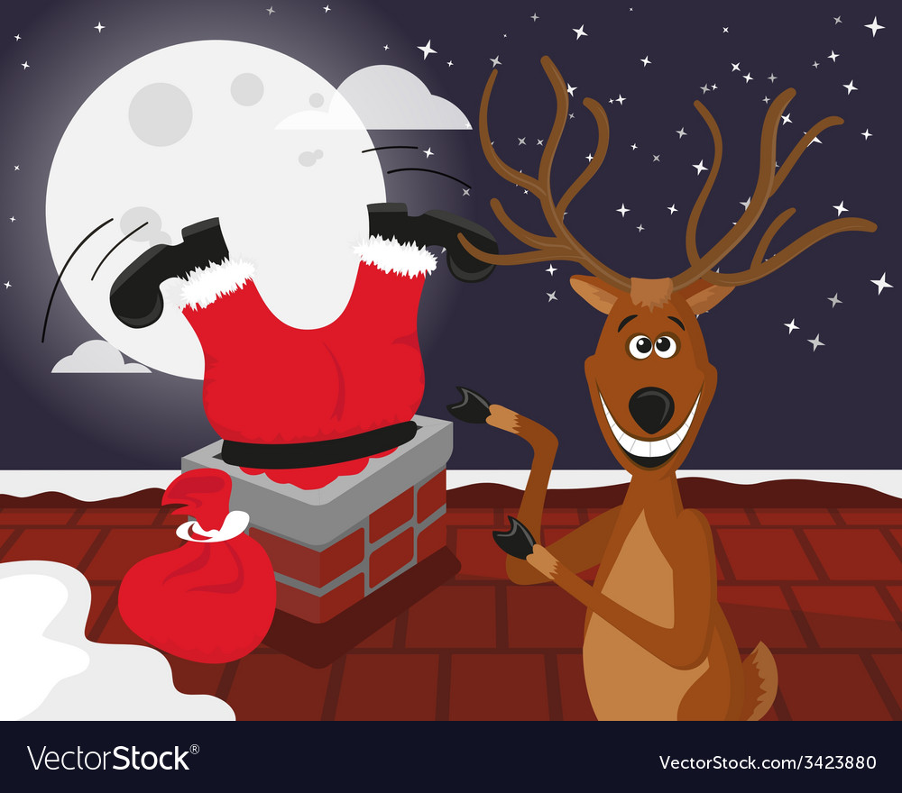 Funny reindeer with santa on the roof vector