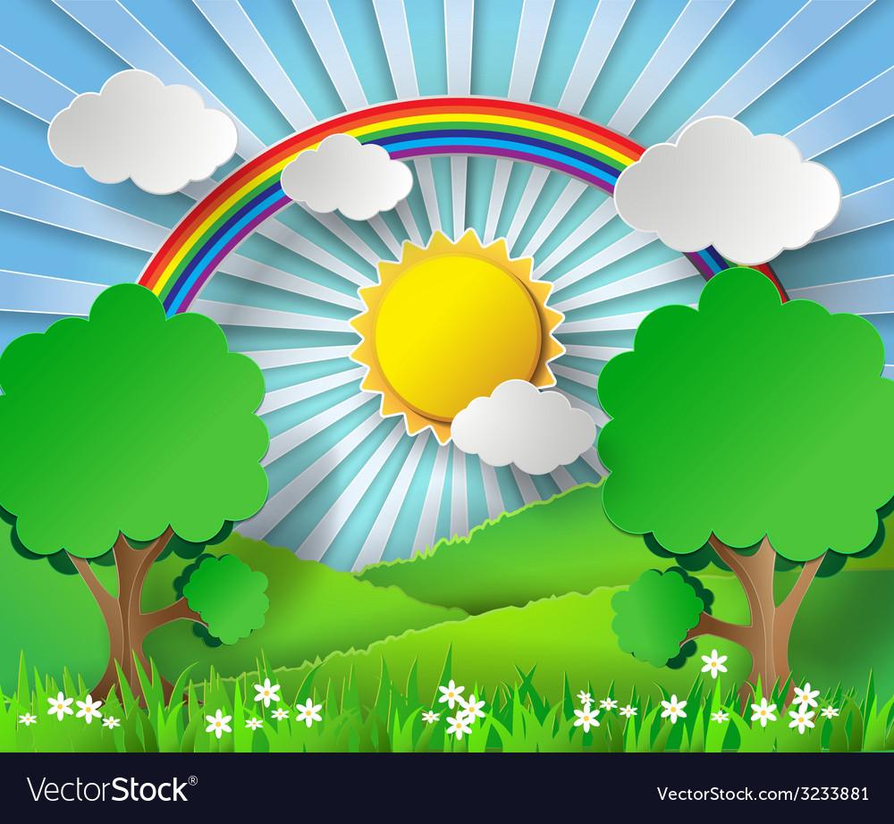 Sunlight on cloud with rainbow over field vector