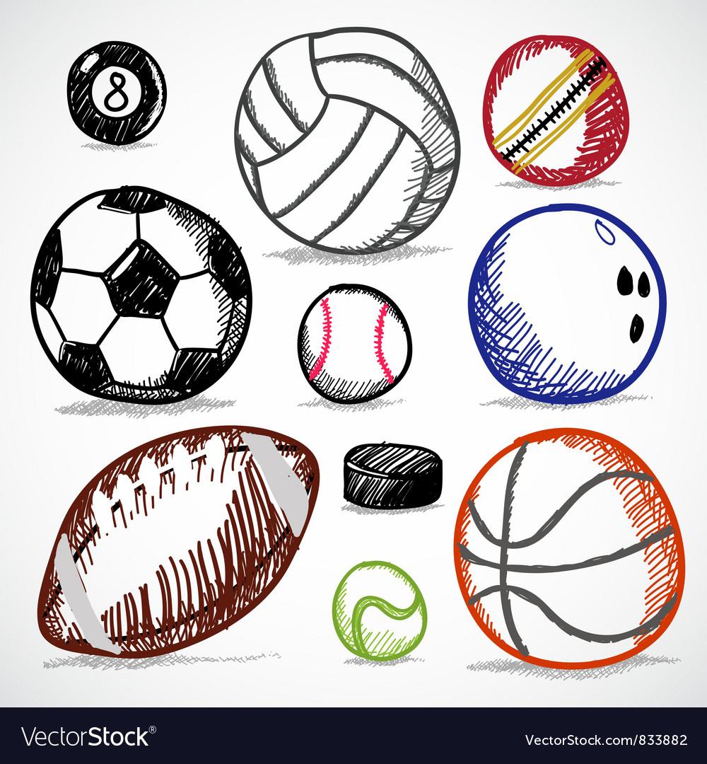 Ball sport doodles vector