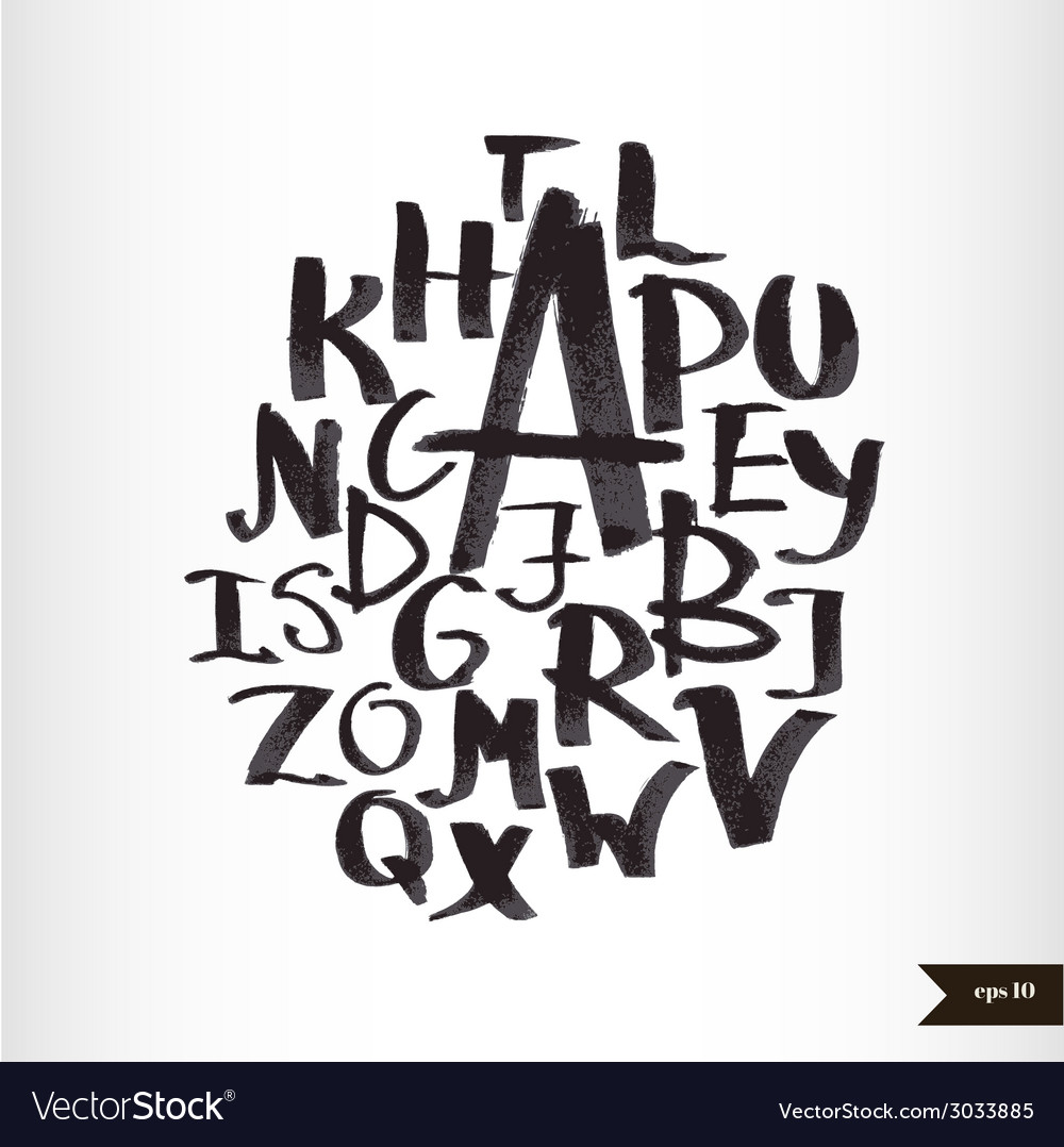 Handwritten calligraphic watercolor alphabet vector