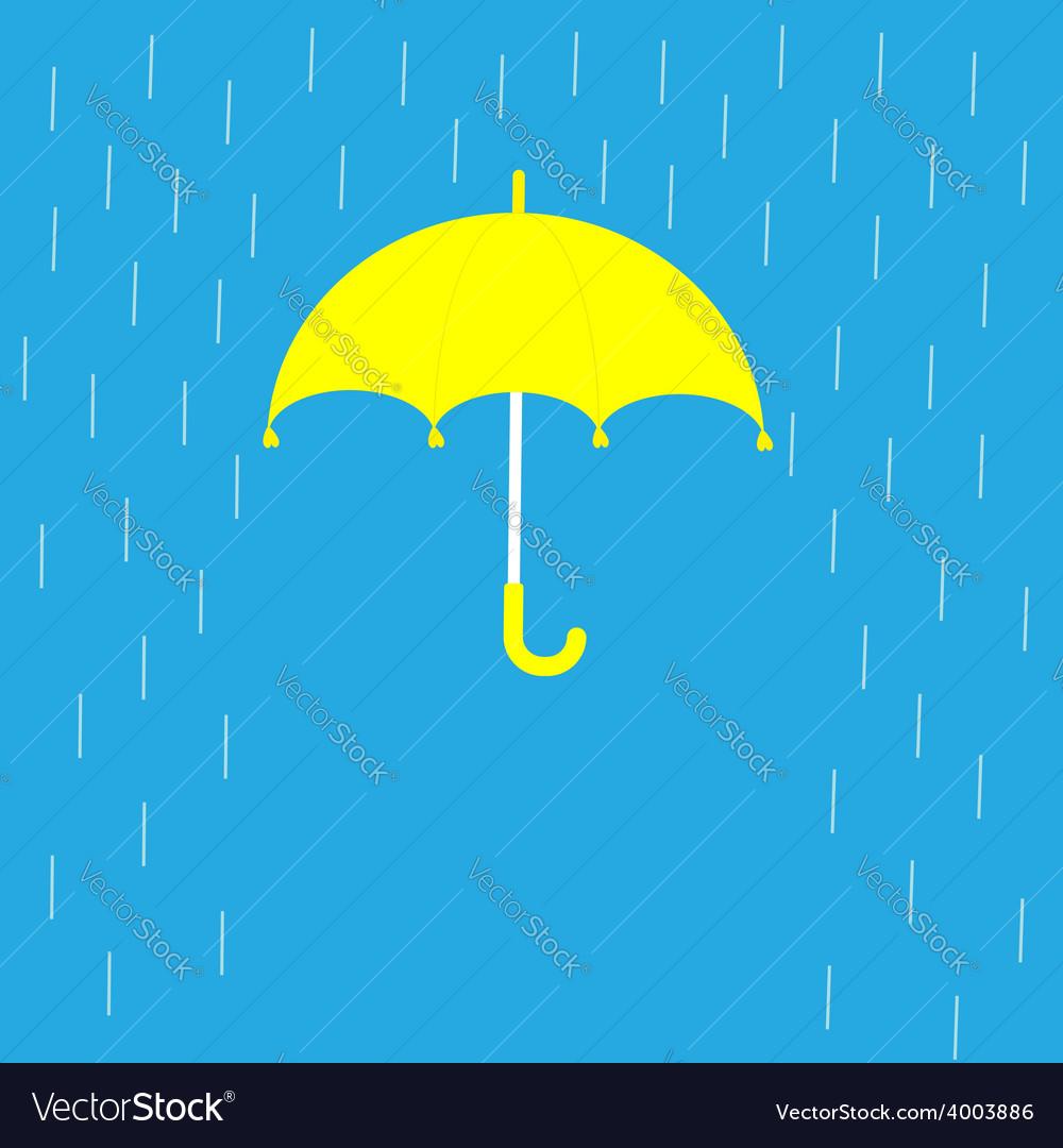 Blue umbrella and rain lines template flat design vector