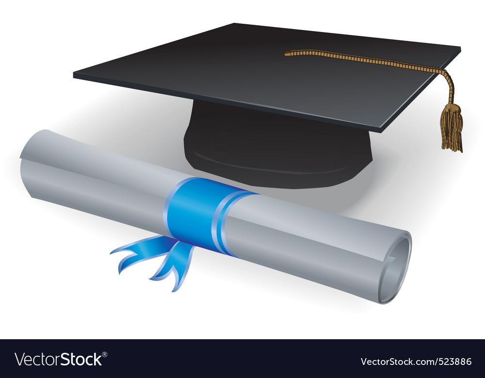 Graduation mortar and diploma vector