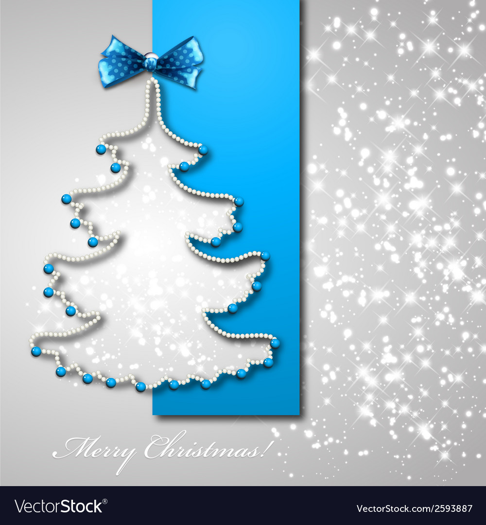 Christmas tree from blue ribbon background vector