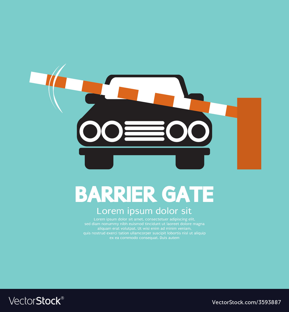 Security barrier gate closed for vehicle vector