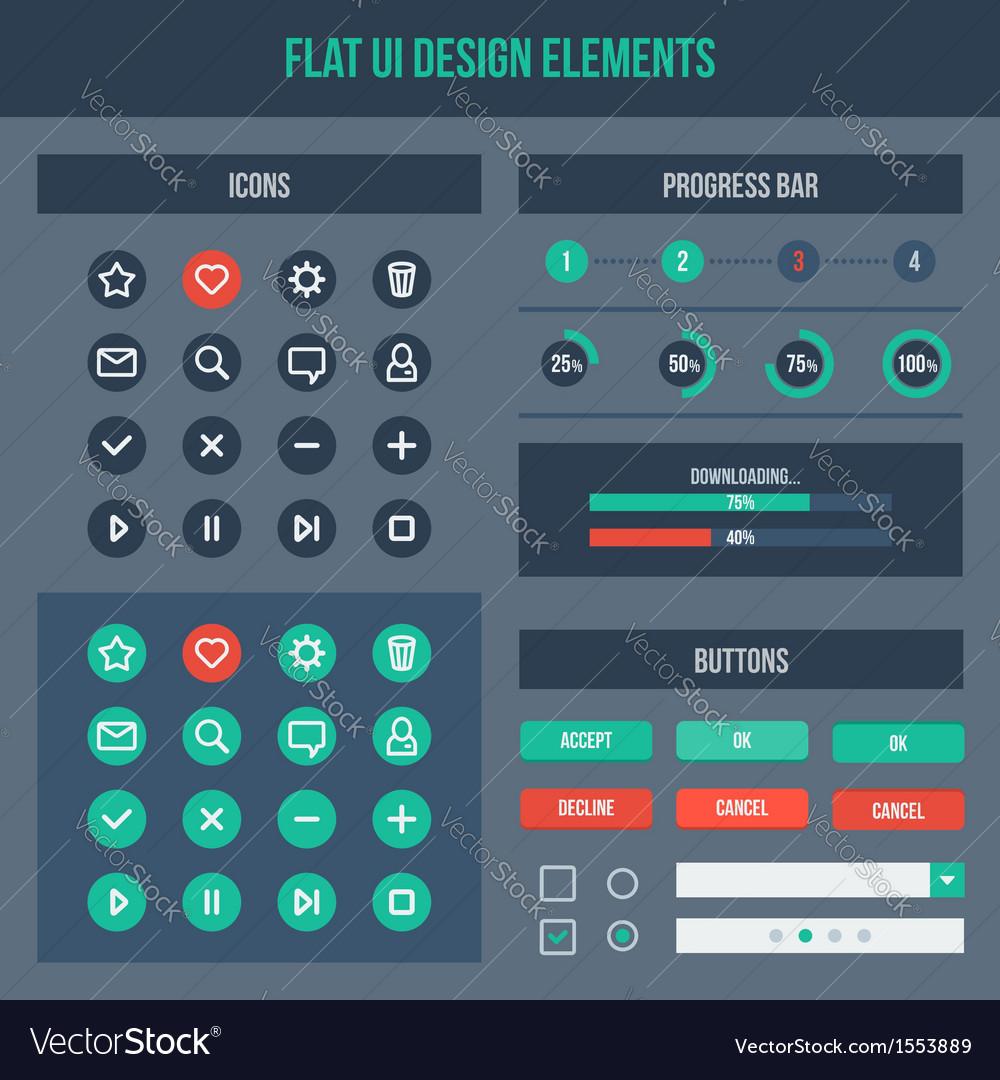 Flat ui basic design elements set vector