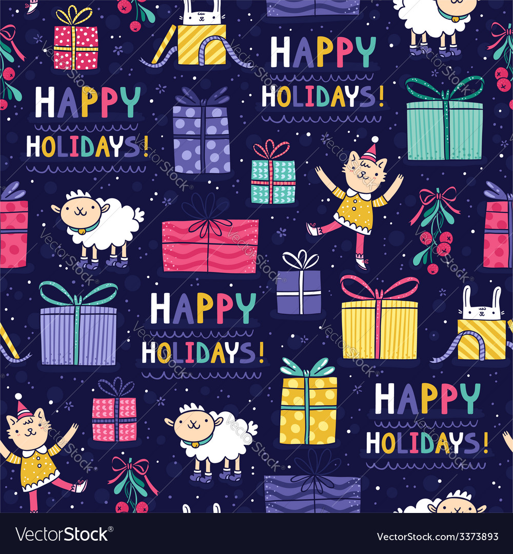 Happy holidays fun seamless pattern vector