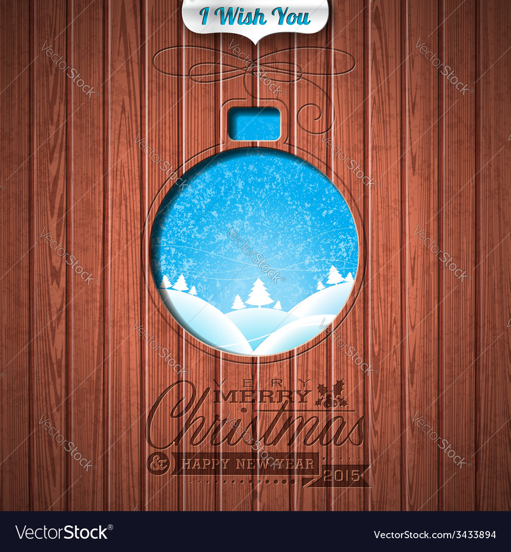 Engraved merry christmas and happy new year vector