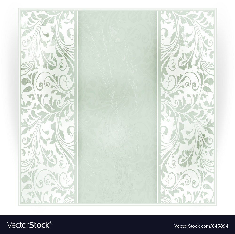 Grungy floral invitation card vector